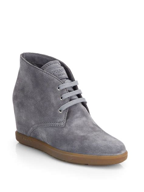 prada suede wedge ankle boots in gray grey lyst