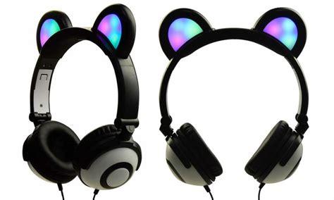 jamsonic dj style light up cat ear headphones 80 on jamsonic light up cat headphones livingsocial