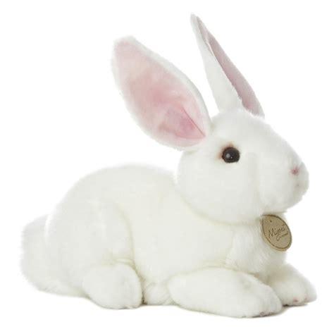 realistic stuffed realistic stuffed white rabbit 10 inch plush animal by