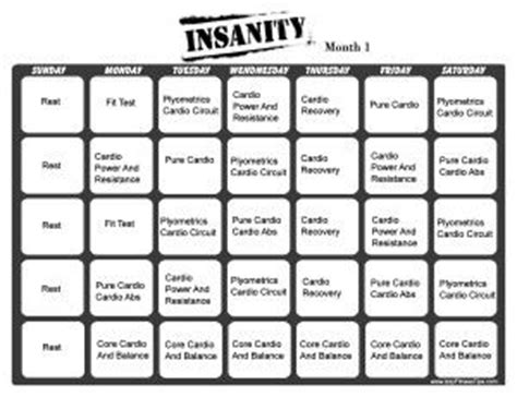 insanity workout calendar month 1 i be work in on my