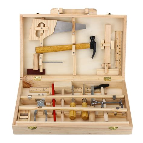 Tool Box Bench Wooden Toys kid wooden storage tool set toolbox diy educational