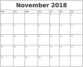 Calendar 2018 Printable Monthly November 2018 Printable Monthly Calendar