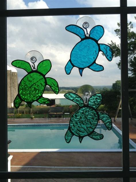 stained glass turtle l handmade stained glass sea turtle suncatcher by qtsg on