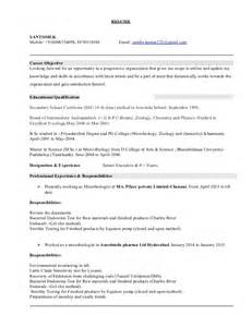 Microbiology Resume Sles by Microbiology 8 Resume