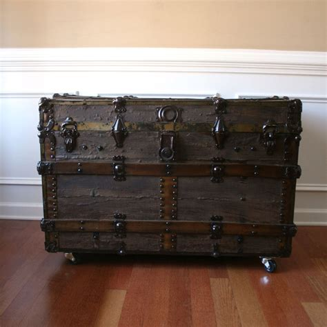 antique steamer trunk industrial home decor coffee table