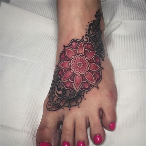 mandala foot tattoo by laura jade tattoos