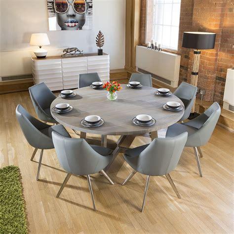 large   grey oak dining table  medium grey