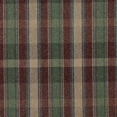 Country Upholstery Fabric by C642 Burgundy Blue Green And Beige Plaid Country
