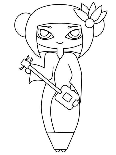 free coloring pages of geisha girl