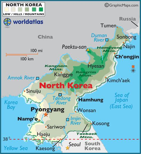 map of korea and surrounding countries korea large color map