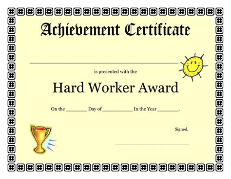 free templates for awards for students printable achievement certificates kids hard worker