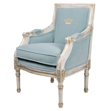 Louis Xvi Chairs by Petit Louis Xvi Bergere Chair In Empress Blue Fabric With Crown Embroidery
