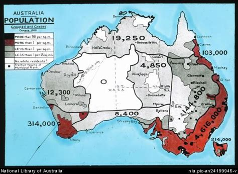 australia population map population map of australia from the 1921 census australia