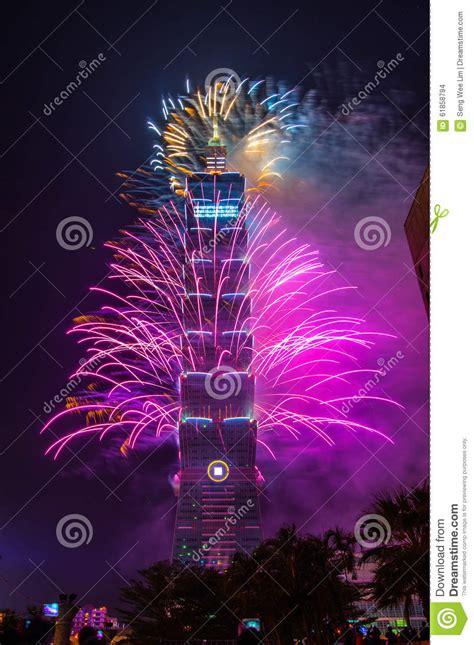 taiwan new year song 2014 taipei 101 new year fireworks editorial stock image