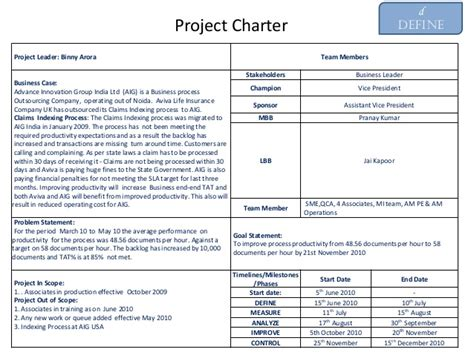 Exle Of Six Sigma Project Charter On Productivity Six Sigma Project Charter Template