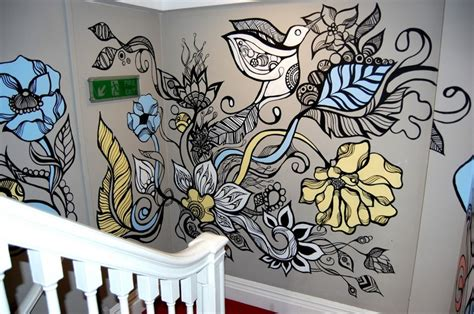 tattoo flower mural stairs stairwell mural decorating painting art bird