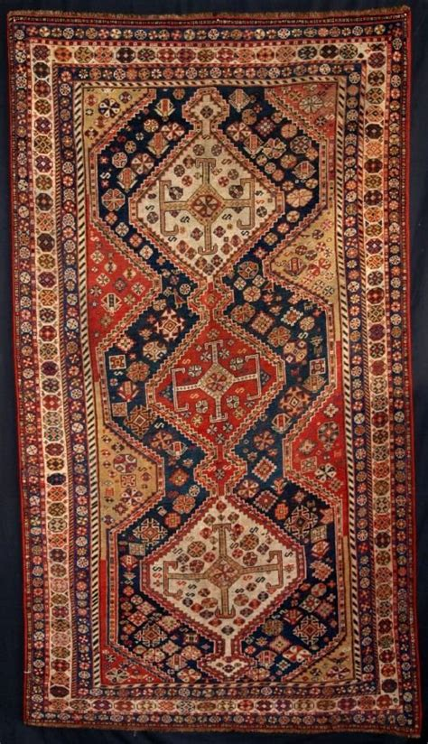 Antique Persian Qashqai Rug Triple Medallion 4th Quarter Quarter Rug