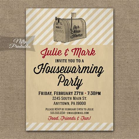 printable invitations housewarming housewarming invitations vintage mailbox nifty printables