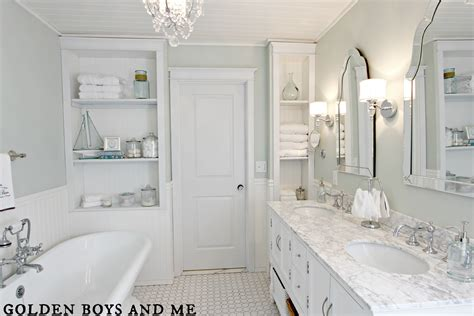 white bathrooms golden boys and me master bathroom pedestal tub white subway tile