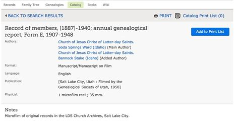 Ordinary Church Of The Latter Day Saints Genealogy Records #6: FamilySearch_Catalog__Record_of_members___1887_-1940__annual_genealogical_report__Form_E__1907-1948_%25E2%2580%2594_FamilySearch_org.jpg