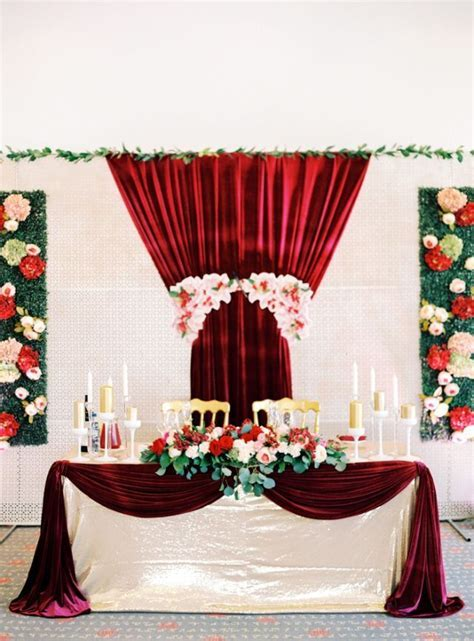 burgundy gold wedding aisle   Red and Gold Wedding