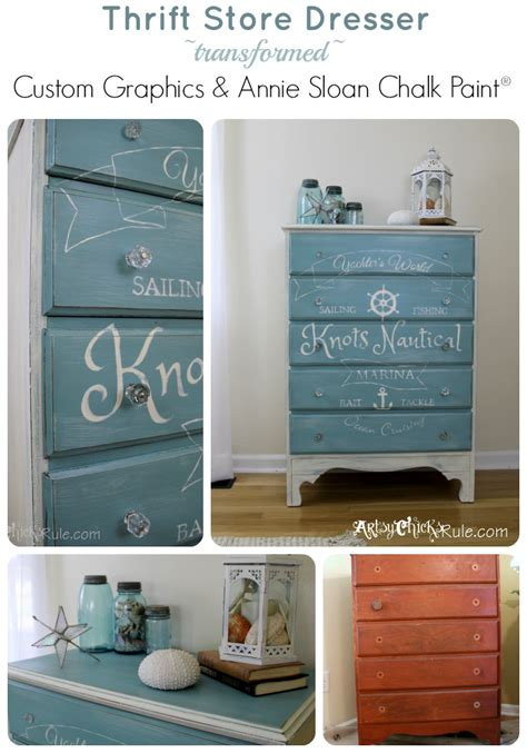 chalk paint provence coastal themed chest w custom graphics sloan chalk