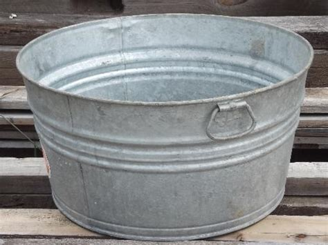 Antique Galvanized Bathtub Old Wash Tub Galvanized Metal Washtub W Original Vintage