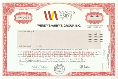 Wendy's Arby's Group Stock Certificate Arby S