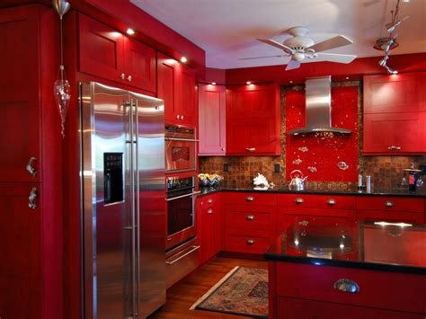 Red Color L Wooden Cabinet With Black Marble Countertop And Stainless Steel Utensils Hooks And » Home Design 2017