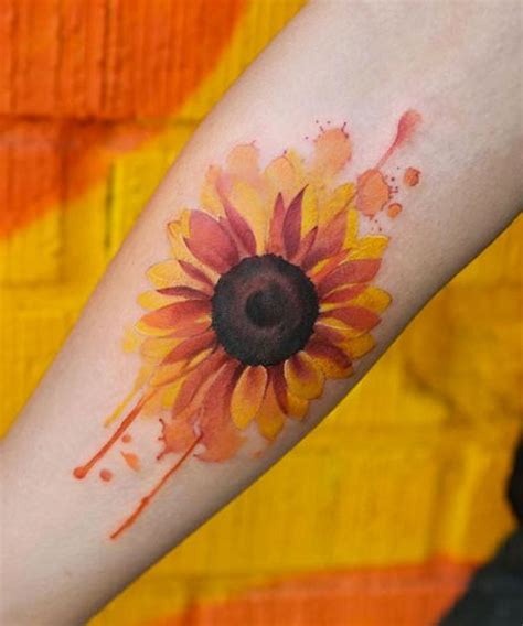 sunflower watercolor tattoo magnificent watercolor sunflower design dinga poonga