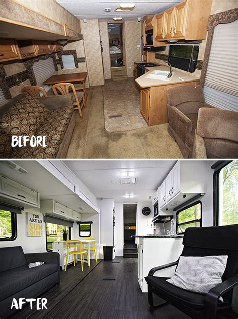 renovated rv here is a look at the fridge new kitchen and the dining