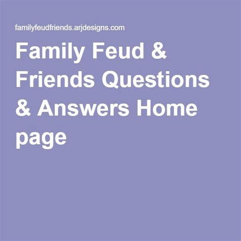Family Feud Mac Family Feud Friends Questions Answers Home Page For