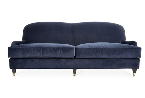 navy velvet sofa gabbey 84 quot velvet sofa navy sofas from one kings lane