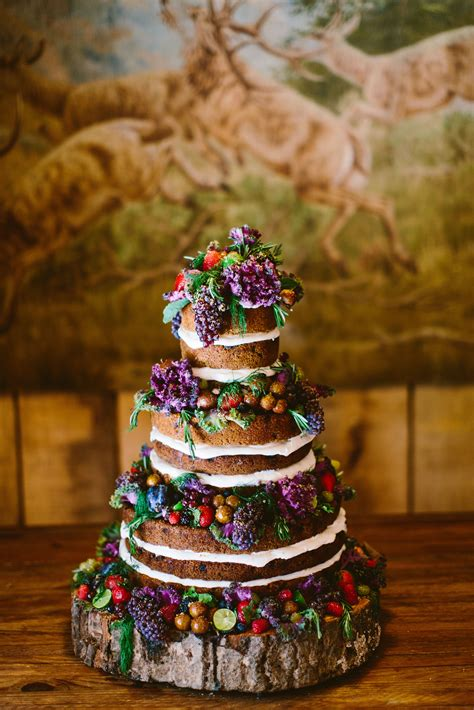 homemade naked wedding cake  wood cake stand