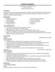 General Manager Resume Exle by Sle Description General Manager New