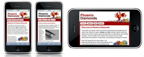 iphone web layout iphone website design phoenix diamonds website design