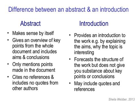 thesis difference between abstract and introduction abstracting