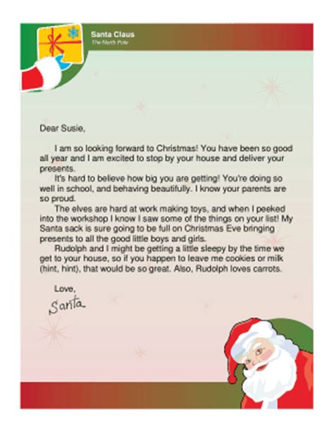 Thank You Letter Santa Template Free Letter From Santa Template Editable New Calendar Template Site