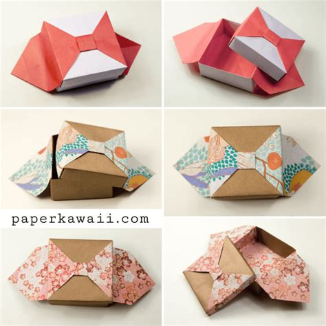 Make An Origami Box - origami box with bow tutorial paper kawaii