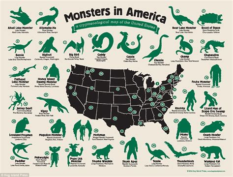 Imaginary Beasts1of 14 monsters in america a cryptozoological map of the united states daily mail