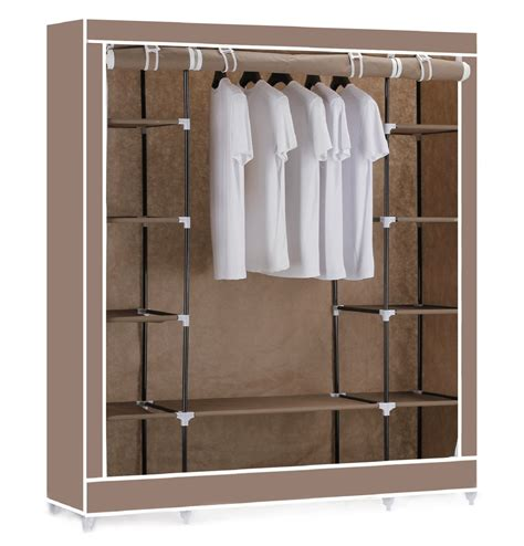 shelves for clothes vinsani triple canvas clothes wardrobe hanging rail with