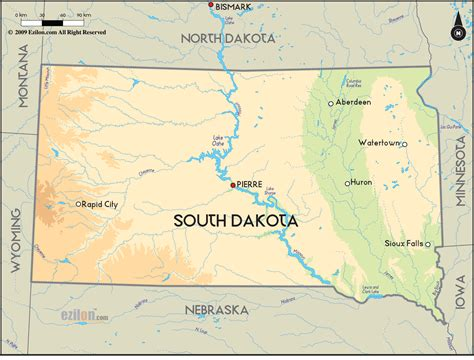 physical map of south dakota geographical map of south dakota and south dakota