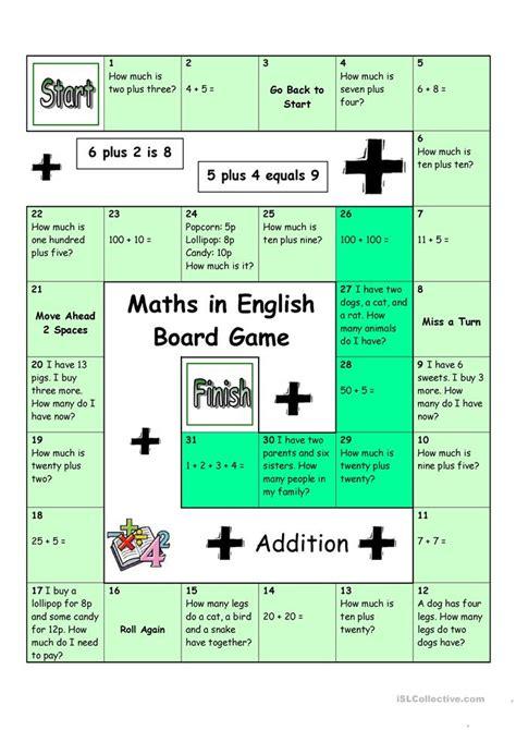 esl printable maths worksheets board game maths in english worksheet free esl
