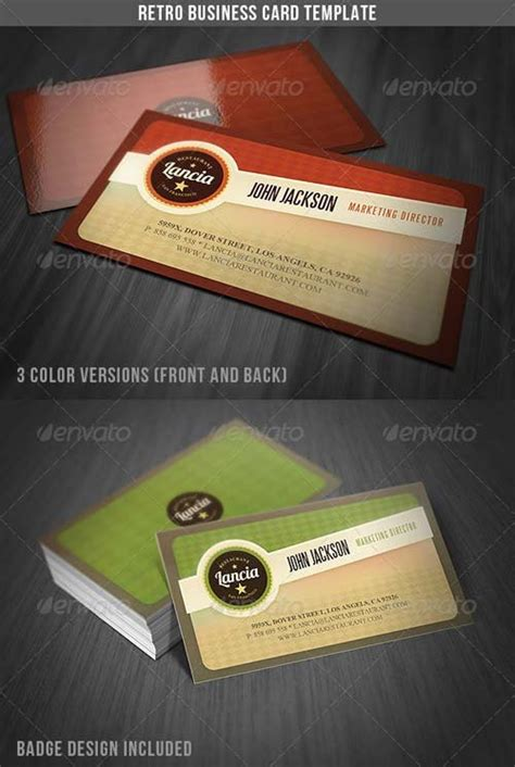 retro business card template business card design graphicriver retro business card