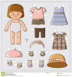 paper doll dress up template paper doll stock vector image 43494530