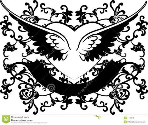 imagenes en blanco y negro de corazones coraz 243 n blanco y negro de las alas en fondo de las curvas