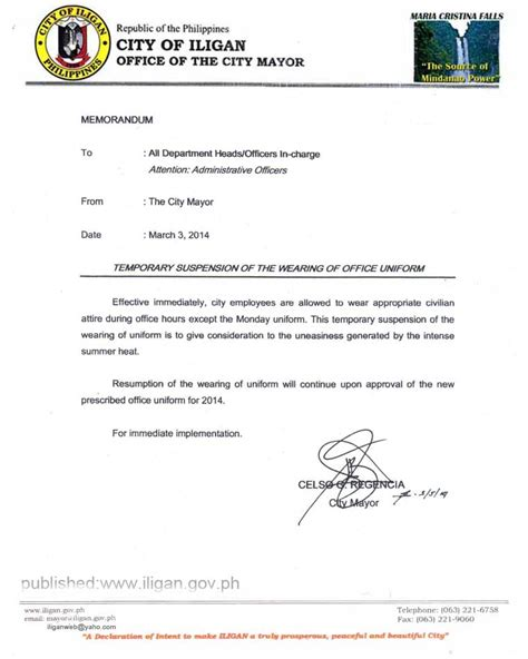 Sle Memo Not Wearing Temporary Suspension Of The Wearing Of Office In Lgu Iligan City