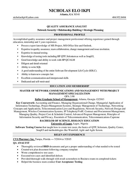 Resume Sles For Quality Analyst Resume In Quality And Quality Assurance Sales Quality Lewesmr