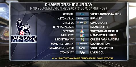epl on tv today nbc sports announces tv schedule for chionship sunday
