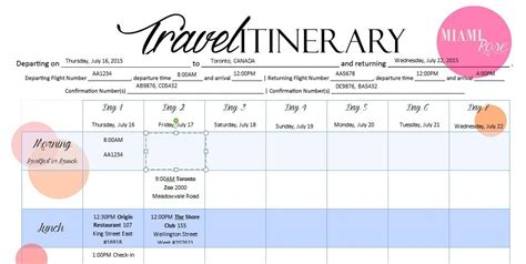 travel itinerary template itinerary template calendar template 2016